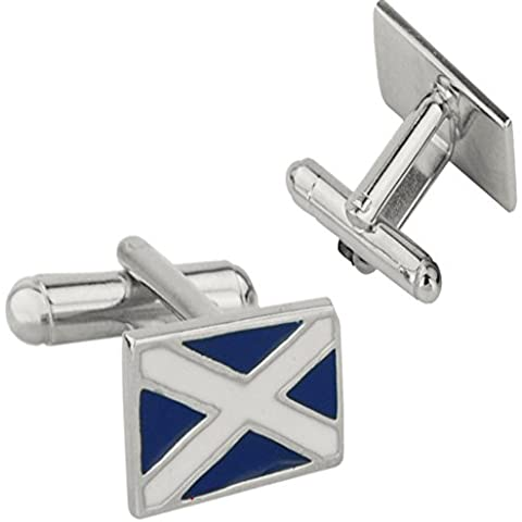 Pewter Cufflinks with Scottish Saltire Flag in Blue and Silver
