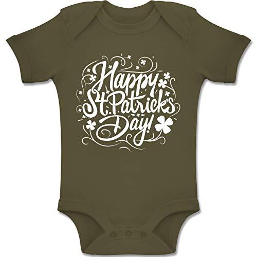 Anlässe Baby - Happy St. Patricks Day - 6-12 Monate - Olivgrün - BZ10 - Baby Body Kurzarm Jungen Mädchen