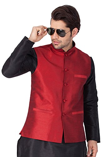 Vastramay Red Cotton Silk Solid,Woven Men's Sleeveless Jacket (Size: 40)