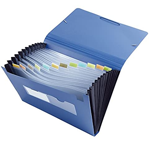 LY Neu Fächermappe Fächertasche DIN A4 PP 12 Fächer farbig sortiert Blau mit Taben