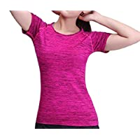DressU Women's Running Athletic Short Sleeve Gym Fit Quick Dry T-Shirt Large (fits like US Medium) Rose Red
