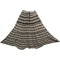 Mogul Interior Womens Long Skirt Cotton Printed Broomstick Tiered Hippie Gypsy Maxi Skirts