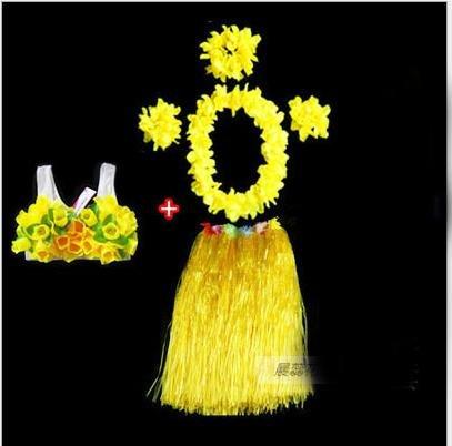 WDBS-60CM-adultos-ordinarios-Vestido-de-hula-de-Hawaii-Vestido-de-fiesta-de-Ao-Nuevo-un-juego-de-cinco-piezas-yellow
