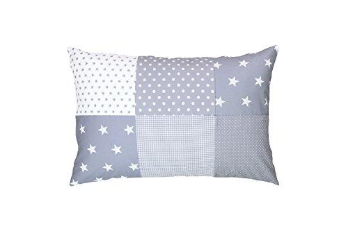 Funda de almohada para bebé de ULLENBOOM ® de 40x60 cm con estrellas grises con cremallera; apta...