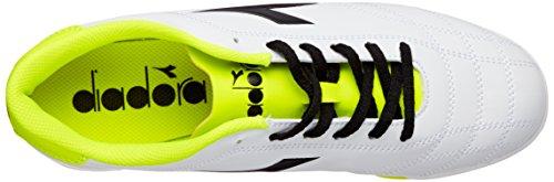 Diadora 6play TF, Scarpe da Calcio Uomo Bianco (Bianco Nero Giallo Fluo)