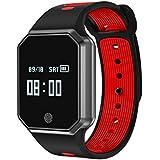 Yidarton Pulsera Inteligente Fitness Tracker Impermeable IP67 Smartwatch Bluetooth 4.0 Reloj Inteligente Contador de Calorias Análisis de Sueño Podómetro con Monitor de Sueño para Android e iOS (rojo)