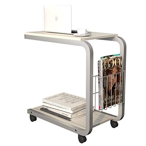 soges Laptoptisch Beistelltisch Pflegetisch PC Notebook Tisch Laptopständer Notebookständer mit Rollen und Ablagefläche für Bett und Sofa, Größe 51 x 30 x 56 cm,KH02-MP-M