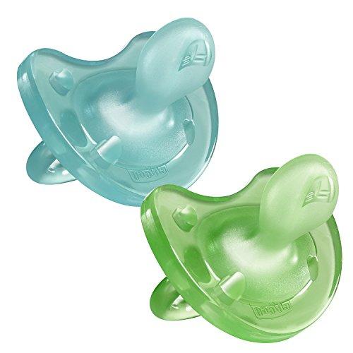 Chicco Physio Soft - Pack de 2 chupetes de silicona, 6-12m, Azul/Verde