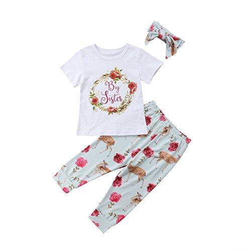 Groß Und Groß Gedruckt T-shirt (Baby Mädchen Kleine Schwester und Große Schwester Blume Gedruckt Strampler T Shirts Lange Legging Hosen 3tlg Kleidung Outfits (90/1-2Jahre alt, Big Sister))
