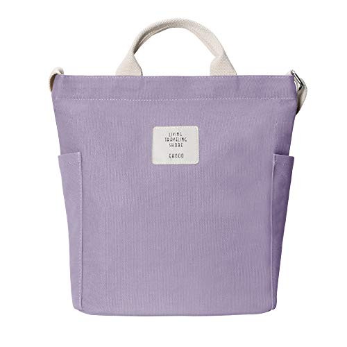 Yidarton Damen Umhängetaschen groß Tasche Casual Handtasche Canvas Chic Damen Schultertasche Henkeltasche für Schule Shopping Arbeit Einkauf (Lila)