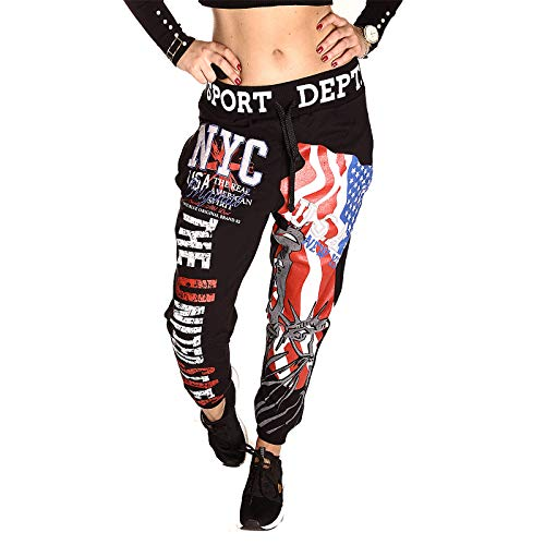 Damen Jogginghose lang Casual Hose Sweatpants United States USA Trainingshose Jogger Hiphop (schwarz, L)