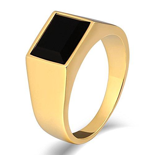 SonMo Stainless Steel Herren Ringe Ring Schwarz Herren Siegelring Herren Gold Signet Ring Band Ring Daumenring für Mann