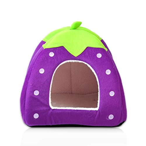 Soft Strawberry Pet Dog Cat Bed House Kennel Doggy Warm Cushion Basket, Viola - Bed Kennel