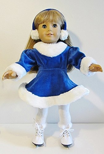 Velvet Ice Skating (Doll Clothes for 18 Inch American Girl Doll BLUE VELVET ICE SKATING OUTFIT Dress, Skates, Tights and Earmuffs by The Wishlist Store)
