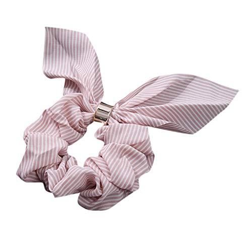 Dorical Hasenohren Haarband Zubehör für Frauen Mädchen Elegante Elastische Süß Haarbänder Vintage Schachtelhalm Halter Seil Haarschmuck Ausverkauf(Rosa)