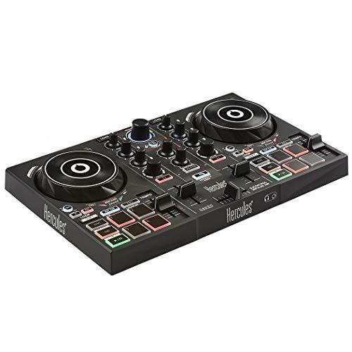 Hercules - DJControl Inpulse 200 - Contrôleur DJ USB idéal pour apprendre à mixer - 2 pistes avec 8 pads et carte son - Logiciel et tutoriels inclus