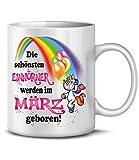 Golebros Geburtstags Tasse Die schönsten Einhörner Werden im März geboren 6172 Unicorn Einhorn Fun Becher Kaffeetasse Happy Birthday Geburtstagstasse Weiss