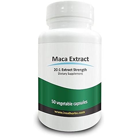 Real Herbs Extracto de raíz de maca - Derivado de 15.000mg de raíz de maca con 20:1 fuerza del extracto - Adecuado para hombres y mujeres, mejora la energía, la resistencia y la función sexual - 50 cápsulas