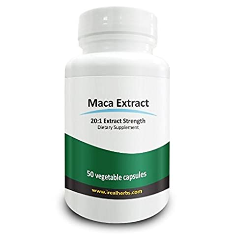 Real Herbs Maca Root Extract - Derived from 15,000mg of Maca Root with 20 : 1 Extract Strength - Suitable for men and women, Improves Energy, Endurance & Sexual Function - 50 Vegetarian Capsules
