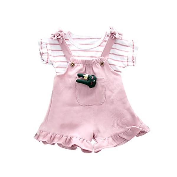 Trisee Conjunto de Ropa de bebé niña Pantalones Babero Originales sin Mangas con Volantes y Tops de Rayas Newborn 2… 3