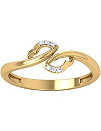 Omsai 925 Silver Stone Ladies & Women's Ring In Yellow Gold Plated CZ Diamond