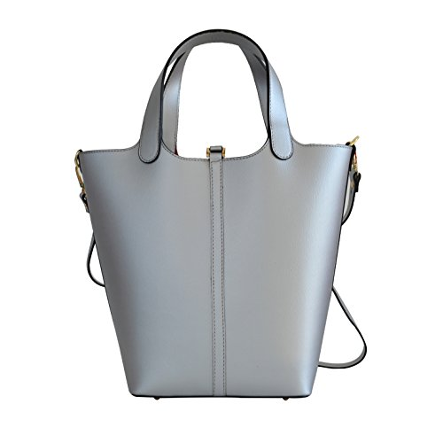 itBags - Borsa a mano Adele in Vera Pelle Made in Italy Argento