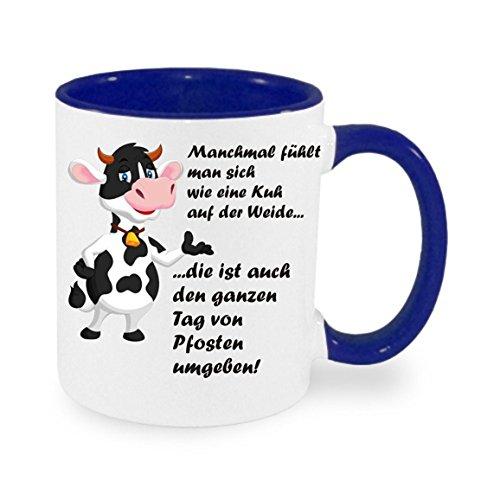 crealuxe Manchmal fühlt Man Sich wie eine Kuh auf der Weide. - Kaffeetasse mit Motiv, Bedruckte Tasse mit Sprüchen oder Bildern