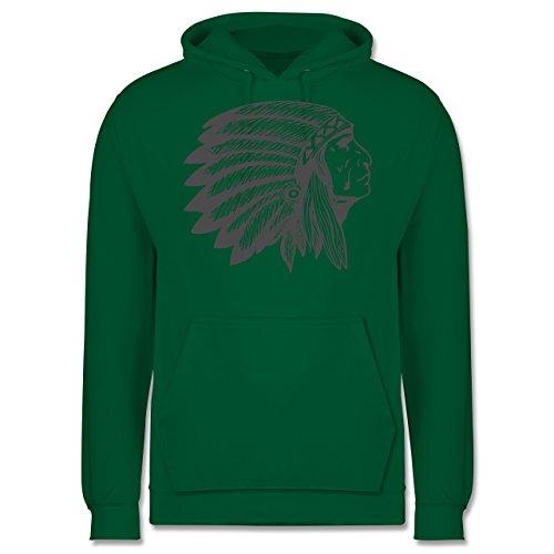 Boheme Look - Indianer Häuptling Handzeichnung - Männer Premium Kapuzenpullover / Hoodie Grün