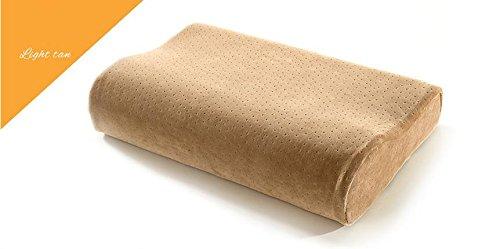 Spazio cuscino memory foam anti acaro rettangolare salute velluto per proteggere il collo colonna vertebrale , camel