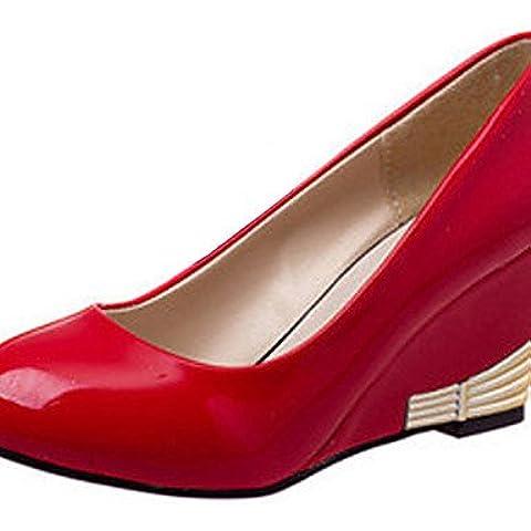 Ei&iLI scarpe da donna semplice brevetto ol comodità cuoio zeppa