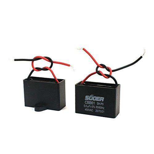 AC 450V 5uF 5% 2 Wired Fan Motor Run condensator CBB61 2Pcs Ac Fan Motor