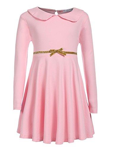 CHIGANT Mädchen Langarm Kleid Sweatkleid A-line Kleid Skaterkleid mit Bubikragen Gürtel für Herbst und Frühling Gr.90-130 2-8 Jahre