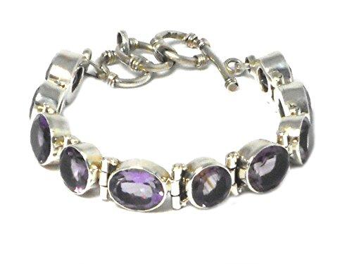 Plata de Ley amethyst gemstone pulsera–Hallmarked–(ambl1608161)