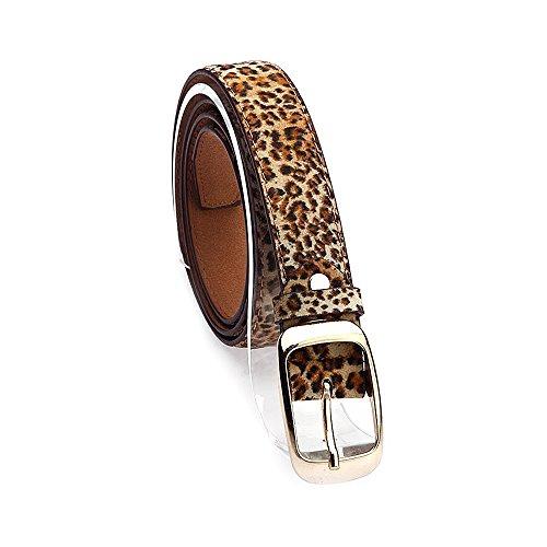 Ya Jin Cinturones ocasionales de las señoras de la correa de cuero ajustada flaca de de las mujeres con la hebilla del oro