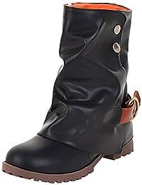 Botas Casual alto top planos para mujer,Sonnena Botas de cuero cortas de moda Zapatos