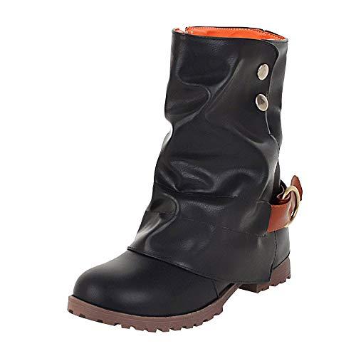Damen Stiefeletten Stiefel Biker Boots Nieten Warm Gefüttert Schuhe warme Kurze Lederstiefel Frauen...