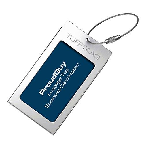 Kofferanhänger Gepäckanhänger TUFFTAAG Metall Visitenkartenhalter mit Adressschildchen - Erhältlich in 10 Farben (Koffer Internationalen Reisenden)