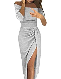 VJGOAL Moda Casual para Mujer Hombro Collar de una Palabra Imperio Corte Alto Vestido Ajustado de Manga Corta/Manga Larga Vestido Formal con Lentejuelas
