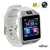 Touch Screen Smart Uhr Smart Watch mit Handy Funktionen Bluetooth Fitness Schlaf Monitor Audio Play Facebook DZ09 Wei?