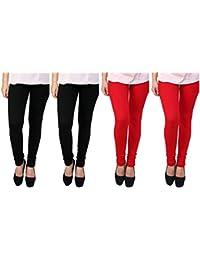 Anekaant Cotton Lycra Women's Legging Pack of 4