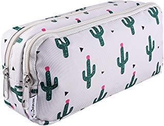 SIQUK Astuccio per penne a doppia capacità Astuccio per cerniere Cactus Astuccio per penne Cartone per ufficio Custodia stazionaria Astuccio per cosmetici con scomparti per Gilrs Ragazzi e adulti