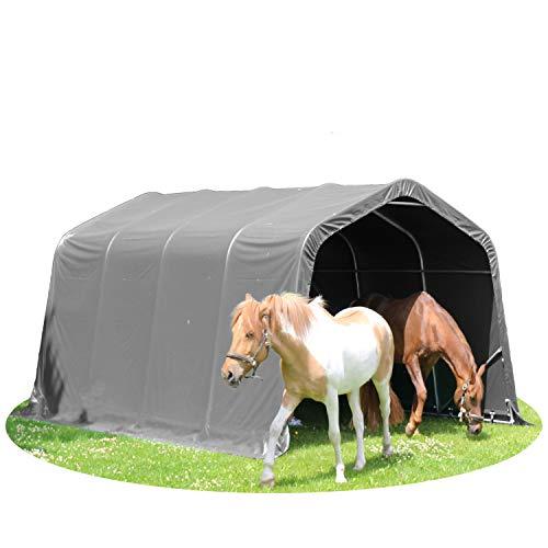 TOOLPORT Weidezelt Offenstall 3,3 x 6,0 m Weideunterstand Pferde Unterstand Stall PVC NEU in grau