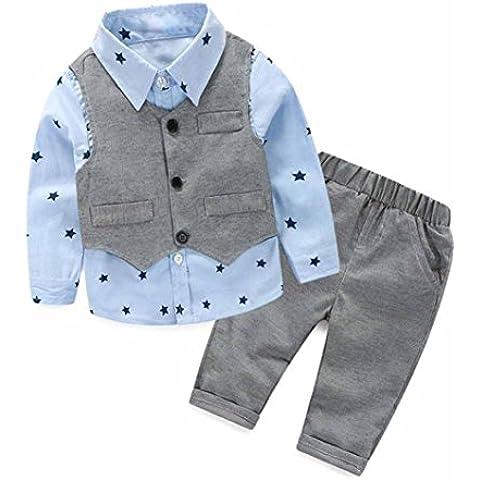 para la ropa de los muchachos,RETUROM popular caliente al bebé recién nacido gris chaleco + pantalones largos + Camisas de ropa fija el juego 3pcs (70)