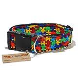 CandyPet Halsband für Hunde aus Baumwolle – Hundehalsband – Handarbeit – extra breit – in 4 Größen – mit oder ohne Clickverschluss – leicht verstellbar -Puzzle Click 4cm (30-55cm)