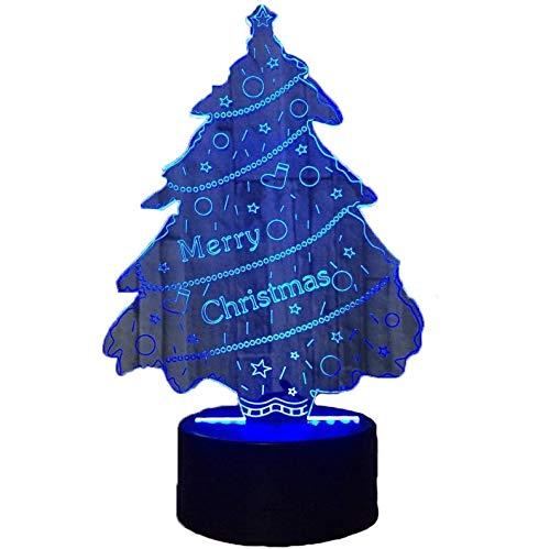 Illusione Ottica 3D Albero di Natale Luce Notturna 7 Colori Mutevoli USB Potere Toccare Cambiare Arredamento Lampada LED Lampada da Tavolo Bambini Brithday Natale Regalo