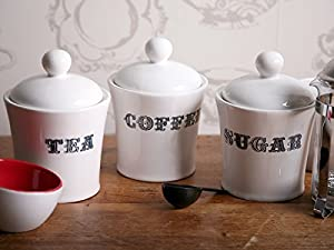 Set of 3 Ceramic Tea Coffee & Sugar White Contemporary Storage Jars Canisters