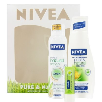 "NIVEA Geschenkset\""Pure & Natural\"" Body Milk (250 ml) + Deodorant (150 ml) + Labello"