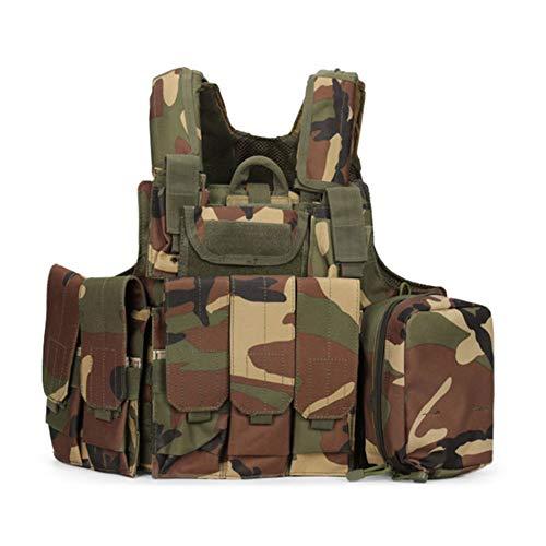 Counter Strike Kostüm - LDYFH Taktische Carrier Weste Brustschützer Atmungsaktives und bequemes Material Verwendet für Cosplay Counter Strike Spiel Jagd,Woodlandcamouflage