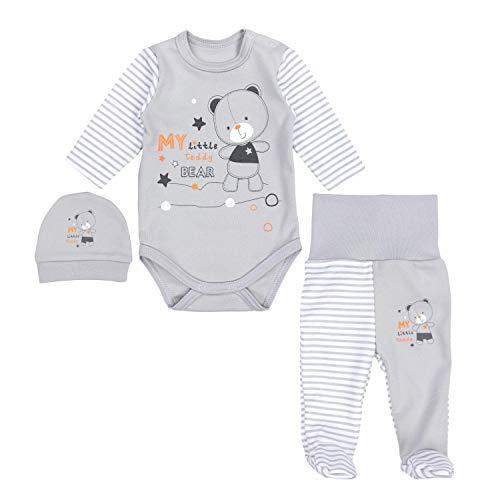 TupTam Baby Unisex Bekleidungsset mit Aufdruck 3 TLG, Farbe: Streifenmuster Grau/Bärchen Sterne, Größe: 62 Baby-kleidung Outfit