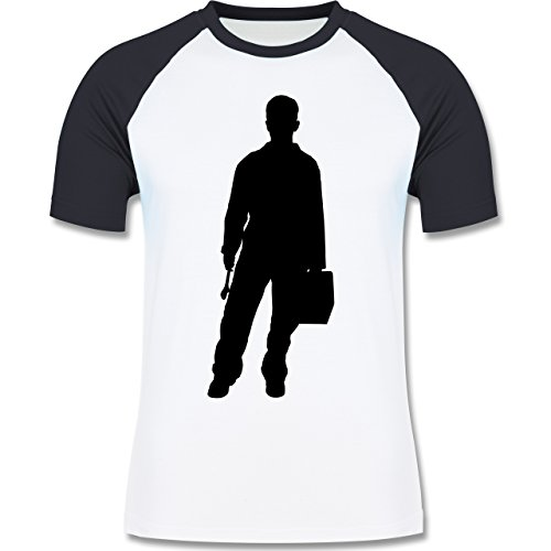 Handwerk - Installateur - zweifarbiges Baseballshirt für Männer Weiß/Navy Blau